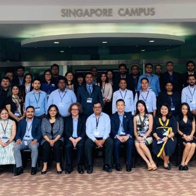 Staff and faculty of SP Jain welcome 30 agents to the Annual Educators' Summit 2018 at the Singapore campus