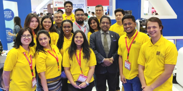(Left to right) Team SP Jain School of Global Management – Dubai Campus with students at GETEX 2019