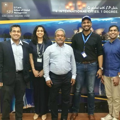 The staff of SP Jain School of Global Management with Mr. Mustafa Rasheed, Project Head at SME Centre@SICCI (extreme left), and Mr. Priveen Raj Naidu, CEO at Reapra Aviation Partners (second from right)
