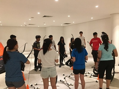 Stressbusting with the help of Archery Tag & Laser Quest at the Singapore Campus