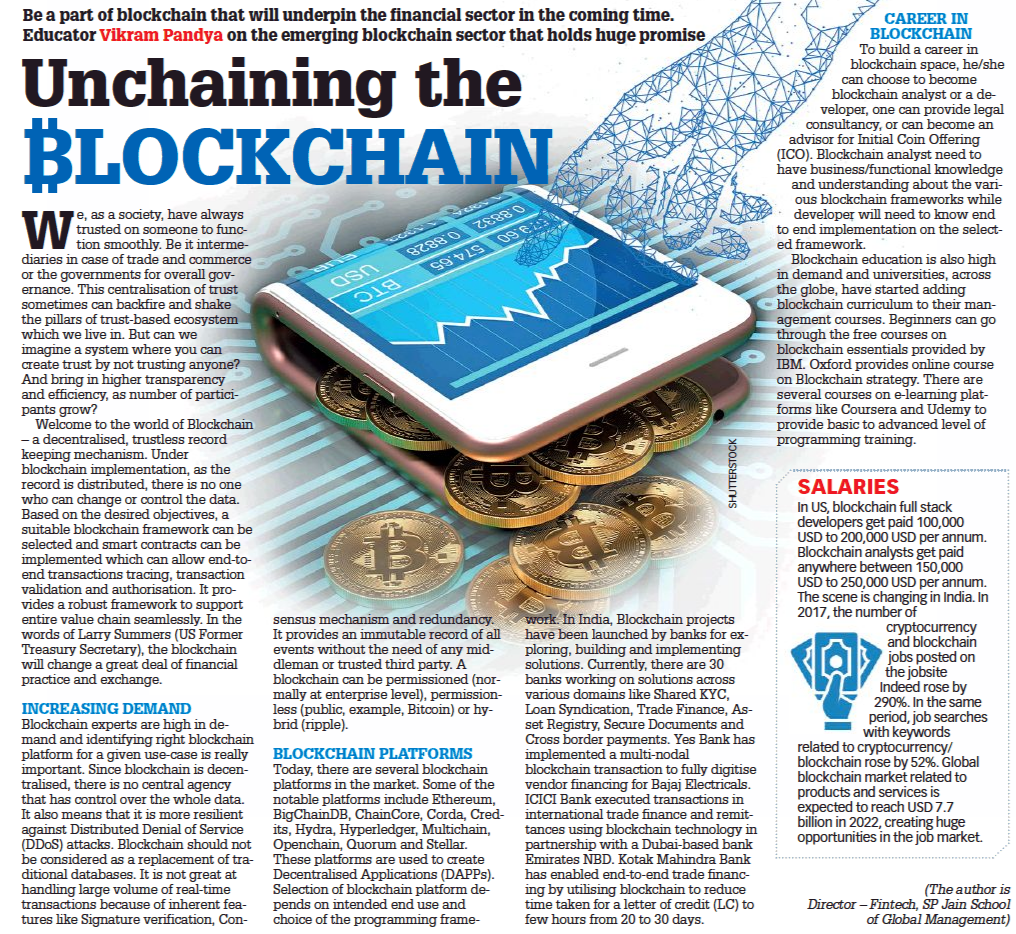 Unchaining the Blockchain - Vikram Pandya Writes in Education Times