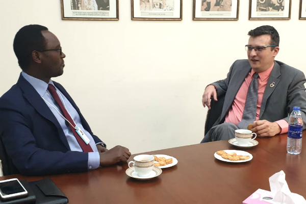Mr. Emmanuel Hategeka (left), COO of Rwanda Development Board, and Mr. Marko Selaković, Director – Institutional Development & Student Recruitment (Dubai Campus) at SP Jain, discussed future opportunities