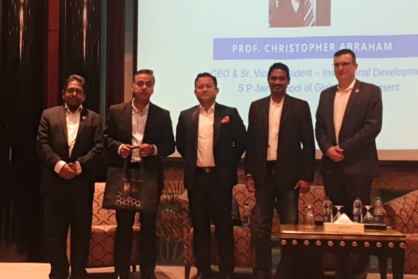 Prof. Christopher Abraham, Professor and Head of Campus (Dubai) at SP Jain, Mr. Joe Devassy, Senior Executive in Tech Industry, Mr. Sandeep Thapa, Director, Middle East Society for Human Resource Management (MESHRM), Dr. Gune Rethinam, Director - Organisational Development, Etisalat & Mr. Marko Selaković, Director – Institutional Development & Student Recruitment (Dubai) at SP Jain