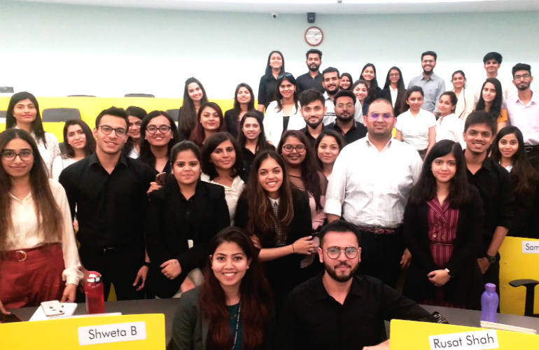 Rahul Kapoor (in white, second from right in the second row) with SP Jain's Luxury Management students