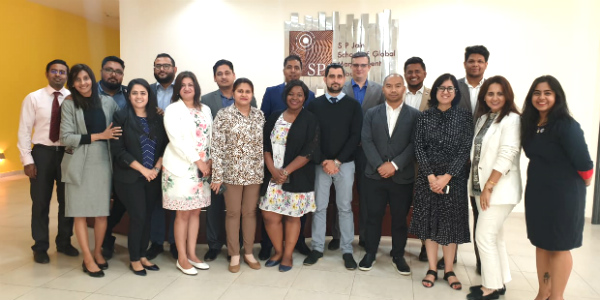Ms. Lakshmi Raman, Registrar & Director Administration (Dubai Campus) – SP Jain, Mr. Marko Selaković, Director – Institutional Development and Student Recruitment at SP Jain, and other staff members along with agents at the Annual Agents' Meet at the Dubai campus