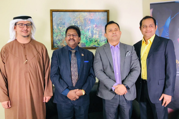 Mr. Hani Hirzalla, Head of HR – Al Futtaim & Chairperson of MESHRM, Dubai; Prof. Christopher Abraham, Professor and Head of Campus (Dubai) – SP Jain School of Global Management; Mr. Sandeep Thapa, Co-Founder – MESHRM & CEO of Boston Training & Certification Institute; and Mr. Aknath Mishra – SP Jain School of Global Management alumnus (EMBA Batch 21))