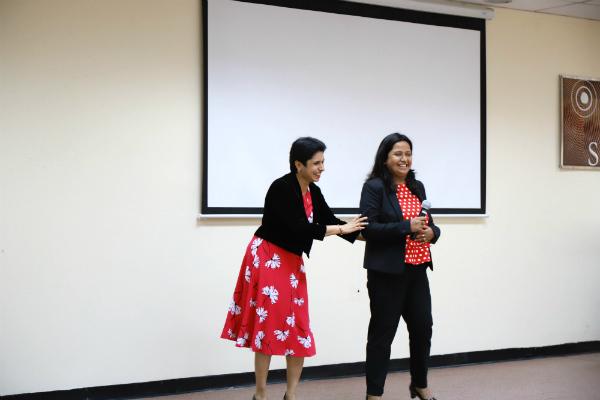 Area Director TM Saro Tharyaan introduced Parmita Debnath, Founder President of SP Jain Toastmasters Club