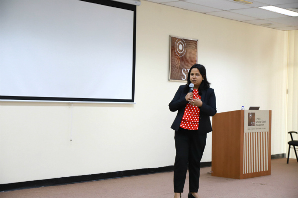 Parmita Debnath, Founder President of SP Jain Toastmasters Club, engaged with the participants
