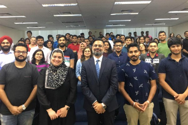 Mr. Abhilash Misra, CEO of National Stock Exchange of India Academy (centre), hosted an engaging session on Future of Work with MGB students at SP Jain School of Global Management's Dubai campus