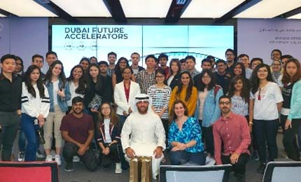 Undergraduate students interact with the world's leading innovators at Dubai Future Accelerators
