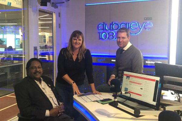 Prof. Christopher Abraham, Professor and Head of Campus (Dubai) at SP Jain School of Global Management; Ms. Brandy Scott and Mr. Richard Dean - radio presenters at Dubai Eye 103.8