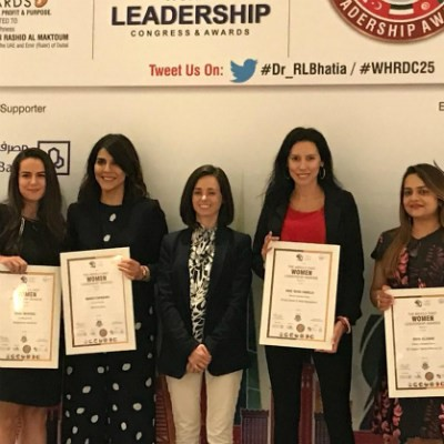 Dr Silvia Vianello (Director of Innovation Centre, SP Jain Dubai) receives the Middle East Women Leadership Award