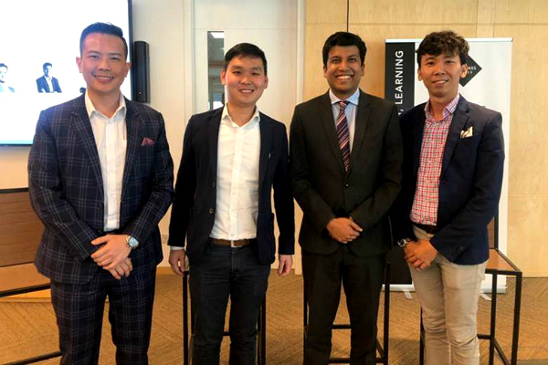 (From left to right) Dr. John Fong, CEO & Head of Campus (Singapore) at SP Jain; Gan Hup Tan, Asst. Vice President, The Ascott Limited; Anupam Yog, Founder, Mirabilis Advisory; and Calvin Cai, Country Head of LOGIN Apartment at the Singapore Global Investment Summit