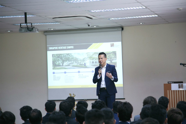 Dr. John Fong, CEO & Head of Campus (Singapore), delivered an engaging Welcome Address at the orientation ceremony of the Postgraduate cohort of January 2019