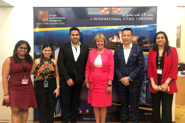 Staff of SP Jain (Singapore campus) with Her Excellency Margriet Vonno, Ambassador of Netherlands to Singapore and Brunei (centre)