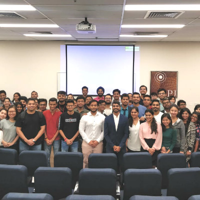Amith Sequeira, AVP - Zomato, conducts a guest session for MGB students at Dubai Campus